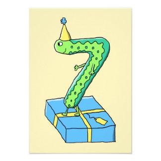 7:efödelsedagtecknad, grönt och Blue. Individuella Inbjudningskort