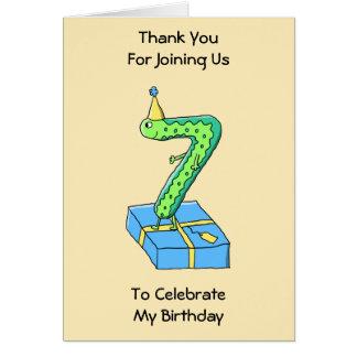 7:efödelsedagtecknad, grönt och Blue. Kort