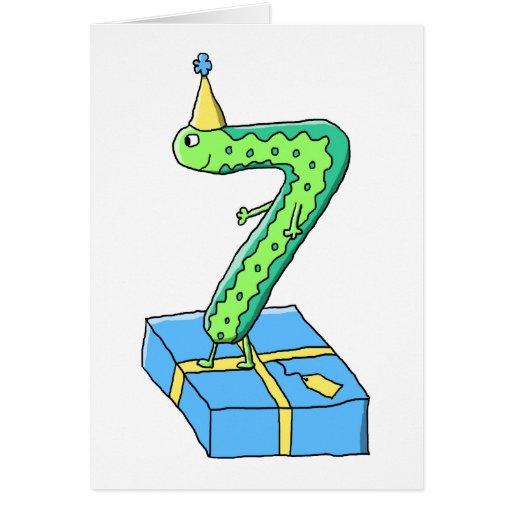 7:efödelsedagtecknad, grönt och Blue. Hälsnings Kort