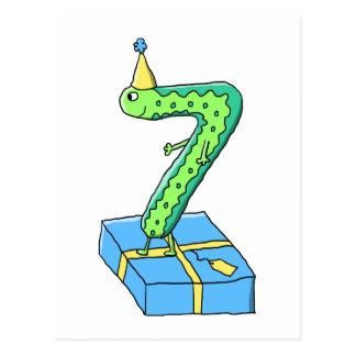 7:efödelsedagtecknad, grönt och Blue. Vykort