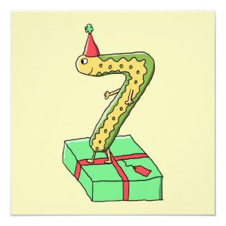 7:efödelsedagtecknad, gult och Green. Fyrkantigt 13,3 Cm Inbjudningskort
