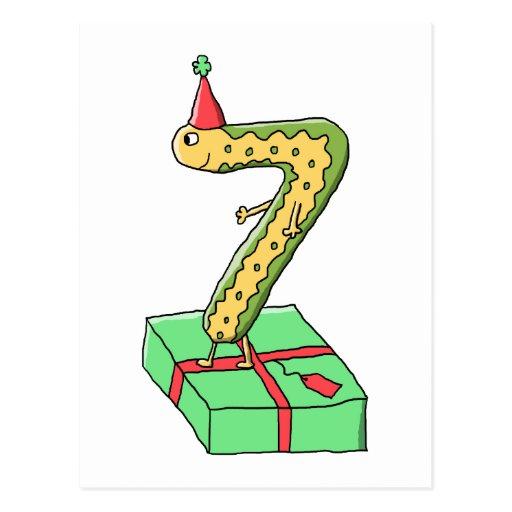 7:efödelsedagtecknad, gult och Green. Vykort
