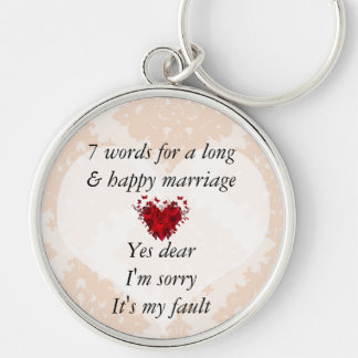 7 ord till ett långt giftermål & det lyckliga rund silverfärgad nyckelring