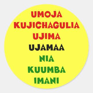 7 principer av Kwanzaa Runt Klistermärke