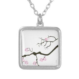 7 sakura blommar med den rosa fågeln, tony silverpläterat halsband