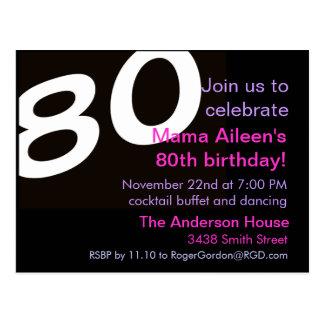 80th Åttionde födelsedagsfestvykortinbjudan Vykort