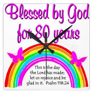 80TH FÖDELSEDAG för KRISTEN Fyrkantig Klocka