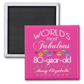 80th Födelsedag mest rosa sagolika färgrika Gems Magnet