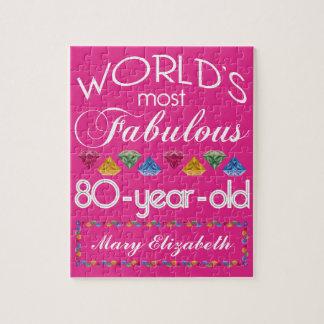 80th Födelsedag mest rosa sagolika färgrika Gems Pussel