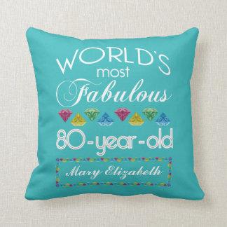 80th Födelsedag mest sagolik färgrik Gemturkos Kudde