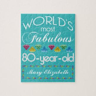 80th Födelsedag mest sagolik färgrik Gemturkos Pussel