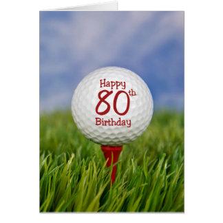 80th Födelsedaggolfboll Hälsningskort