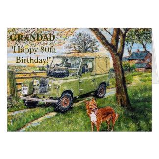 80th födelsedagkort för lycklig för GRANDAD Hälsningskort