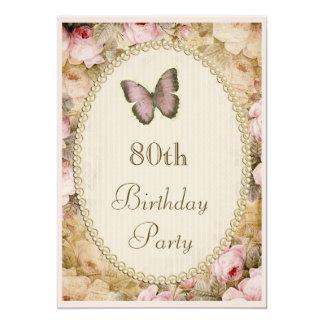 80th Födelsedagvintagero fjäril, musik noter 12,7 X 17,8 Cm Inbjudningskort