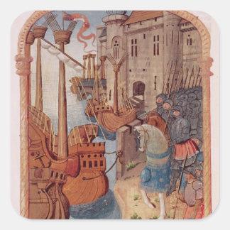 8378 Velin 745 riddare f.1 på hästryggen, c.1350 Fyrkantigt Klistermärke