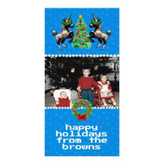 """""""8-Bet kortet för den jul"""" fotohälsningen (blått) Fotokort"""