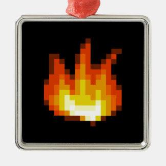 8 bet Pixeled avfyrar Silverfärgad Fyrkantigt Julgransprydnad