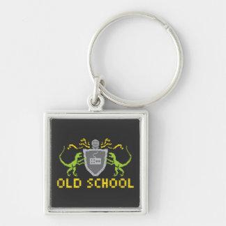 8 heraldiska Dinosaurs Keychain för bitar Fyrkantig Silverfärgad Nyckelring