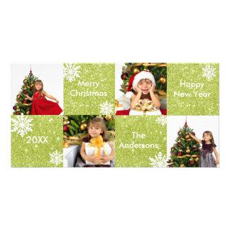 8H kvadrerar grönt glitter - julfotokort Fotokort