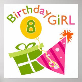 8th födelsedag - födelsedagflicka poster