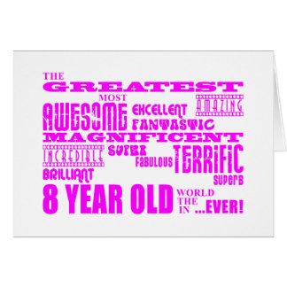 8th födelsedagar för flickor: Årig rosa största 8 Hälsningskort
