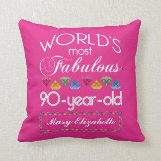 90:e födelsedag mest rosa sagolika färgrika Gems Kudde