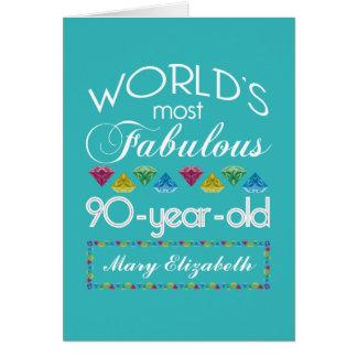 90:e födelsedag mest sagolik färgrik Gemturkos Hälsningskort