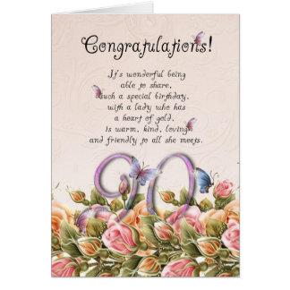90:e födelsedagkort med fjärilar och ro - co hälsningskort