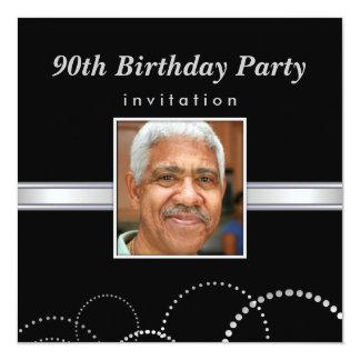 90:e födelsedagsfest - manar fotoinbjudningar fyrkantigt 13,3 cm inbjudningskort