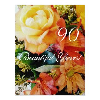 90 härliga år! - Födelsedag/gul rosbukett 10,8 X 14 Cm Inbjudningskort
