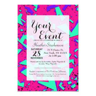 90-talkricka och abstrakt geometriskt mönster för 8,9 x 12,7 cm inbjudningskort