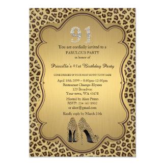 91st Födelsedaginbjudan, numrerar diamanter, 12,7 X 17,8 Cm Inbjudningskort
