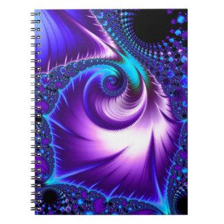 925 blått/purpurfärgad Fractal Anteckningsbok Med Spiral