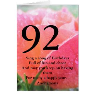 92nd Födelsedag Hälsningskort