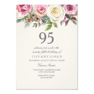 96th 97th 98th 99th födelsedag för vit ros 95th 11,4 x 15,9 cm inbjudningskort