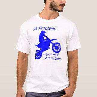 99 problem utan MX är inte en! Blått på vit Tee Shirt