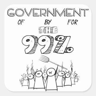 99% regering av för och vid folket fyrkantigt klistermärke