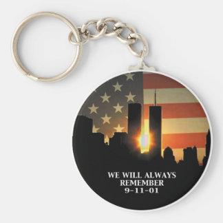 9-11 minns - vi ska glömmer aldrig rund nyckelring