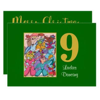 9 damer som dansar gullig djuranpassningsbarjul 12,7 x 17,8 cm inbjudningskort