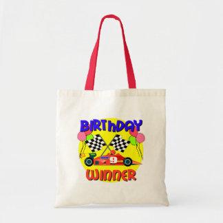 9th Birthday Race Car Birthday Tote Bags