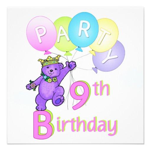9th FödelsedagsfestPrincess Uthärda Svälla Kort För Inbjudningar