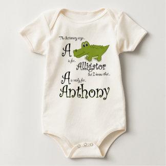 A är för Anthony, babyalligatorutslagsplats Krypdräkt