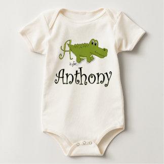 A är för Anthony, babyalligatorutslagsplats Sparkdräkter