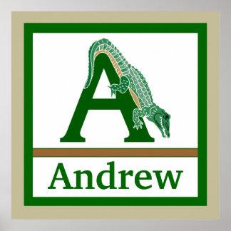 A är för för väggkonst för alligator och för pojke affisch