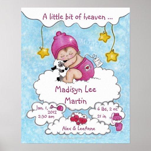 A bet lite av Himmel-Födelse info för flicka Affisch