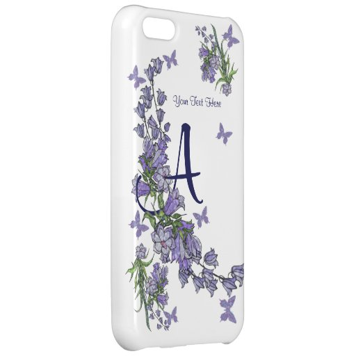A - Härliga Monogramblått Klockor & fjäril iPhone 5C Mobil Fodral