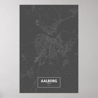 Aalborg Danmark (vit på svart) Poster