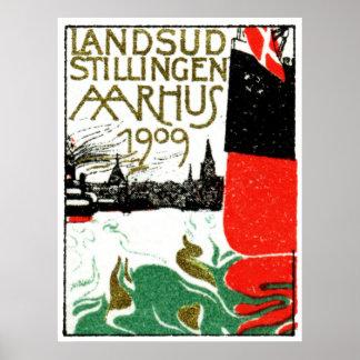 Aarhus Danmark utläggningaffisch 1909 Poster