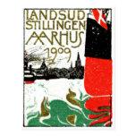 Aarhus Danmark utläggningaffisch 1909 Vykort