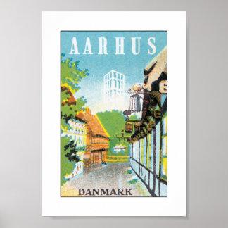 Aarhus Danmark (vit) Poster